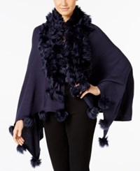 Alfani Faux Fur Trim Poncho Only At Macy's Navy Nautical