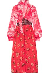 Attico Beatriz Floral Print Silk Chiffon Dress Red