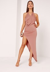 Missguided Slinky Drape Asymmetric Maxi Dress Pink Red