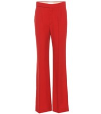 Chloe Wide Leg Crepe Trousers Red