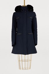 Fusalp Jeanne Long Jacket With Fur Lined Hood Dark Blue