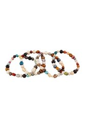 4 8Mm Dyed Multicolor Freshwater Pearl Stretch Bracelet Set
