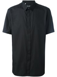 Dolce And Gabbana Polka Lined Placket Shirt Black