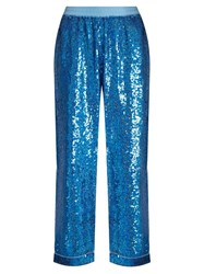 Ashish Sequin Embellished Wide Leg Cotton Trousers Blue