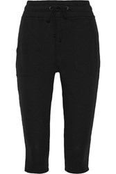 James Perse Cropped Supima Cotton Terry Track Pants Black