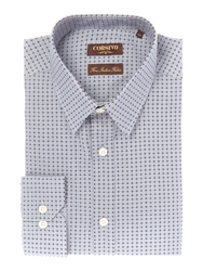Corsivo Lorenzo Geo Circle Print Cotton Shirt Grey