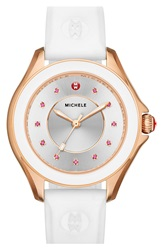 Michele 'Cape' Topaz Dial Silicone Strap Watch 40Mm White Rose Gold
