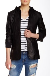 Doma Hooded Genuine Leather Blazer Black