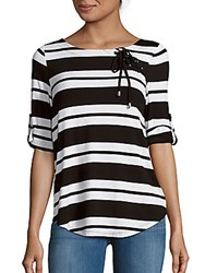 Cable And Gauge Striped Lace Up Top Black