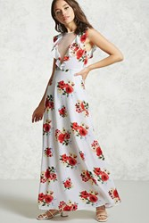 Forever 21 Floral Ruffle Maxi Dress Cream Red