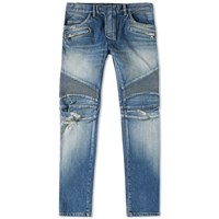 Balmain Washed Biker Stretch Jean Blue