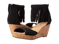 Minnetonka Isabel Black Suede Women's Wedge Shoes