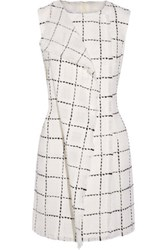 Oscar De La Renta Wrap Effect Wool Tweed Mini Dress White