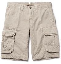 Incotex Washed Cotton And Linen Blend Cargo Shorts Neutrals
