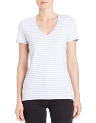 Lord And Taylor Plus Striped Stretch Cotton Tee Sea Breeze Heather