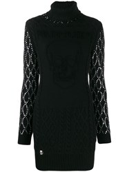 Philipp Plein Embellished Sleeves Knitted Dress Black
