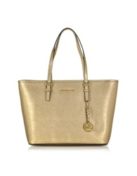 Michael Kors Jet Set Travel Top Zip Metallic Leather Tote Gold