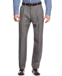 Haggar Microfiber Performance Classic Fit Pleated Dress Pants Only At Macy's Heather Grey