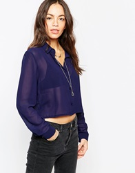 Brave Soul Long Sleeve Cropped Shirt Navy