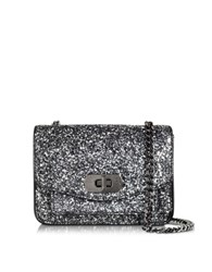 Zadig And Voltaire Extra Small Skinny Love Gray Glitter Shoulder Bag