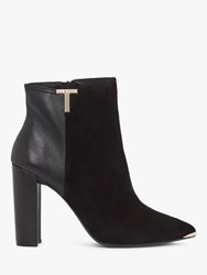 Ted Baker Inala Leather Suede Point Toe Ankle Boots Black
