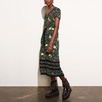 Coach Sheer Dress With Encrustation Green Multi