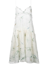Rochas Bird Print Spaghetti Strap Dress White