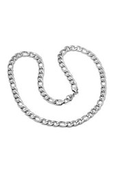 Steeltime Long Link Accent Curb Chain Necklace Beige