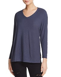 Michelle By Comune Dexter Long Sleeve V Neck Tee Navy