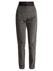 Msgm Prince Of Wales Check Brushed Velvet Trousers Grey