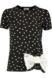 Red Valentino Redvalentino Bow Embellished Polka Dot Cotton And Modal Blend Jersey T Shirt Black