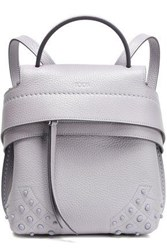 Tod's Woman Studded Textured Leather Backpack Lilac