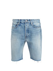 Balenciaga Raw Edge Denim Shorts Blue