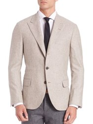 Brunello Cucinelli Wool And Silk Peak Lapel Jacket Grave