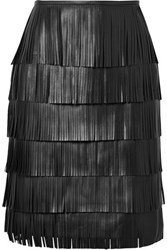 Michael Kors Collection Fringed Leather Skirt Black