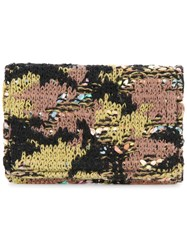 Coohem Knit Tweed Camouflage Card Case Cotton Calf Leather Acrylic Polyester Green