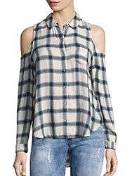 Calvin Klein Jeans Brushed Cold Shoulder Checked Shirt Marshmallow