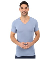 Calvin Klein Underwear Body Micro Modal S S V Neck U5563 Eventide Men's Short Sleeve Pullover Blue