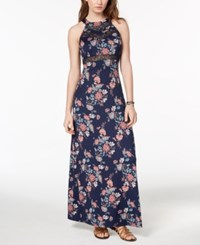 Emerald Sundae Juniors' Illusion Maxi Dress Navy Pink Floral