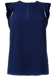 Michael Michael Kors Side Mesh Detail Top Blue