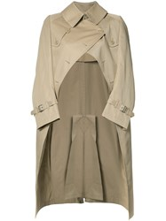 Comme Des Garcons Junya Watanabe Graffiti Back Trench Coat Brown