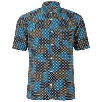 Ymc Men's Spot Cloud Short Sleeve Shirt Blue