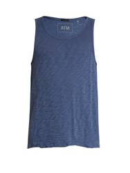 Atm Anthony Thomas Melillo Distressed Hem Cotton Jersey Tank Top Blue