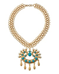 Kenneth Jay Lane Cabochon Pendant Collar Necklace
