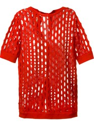 Marni Perforated Knit Top Red