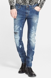 Just Cavalli Destroyed Slim Fit Jeans Blue