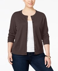 Charter Club Plus Size Long Sleeve Cardigan Only At Macy's Rich Truffle