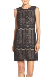 Adrianna Papell Women's Lace A Line Dress Black Palepink