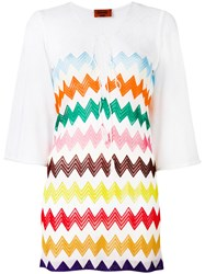 Missoni Zig Zag Print Sheer Dress White