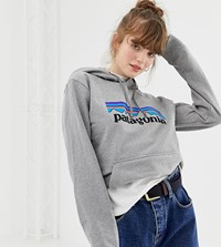 Patagonia Oversized P 6 Logo Uprisal Hoody In Grey Gravel Heather